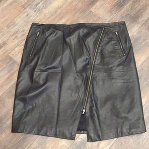 Halogen lambskin leather skirt